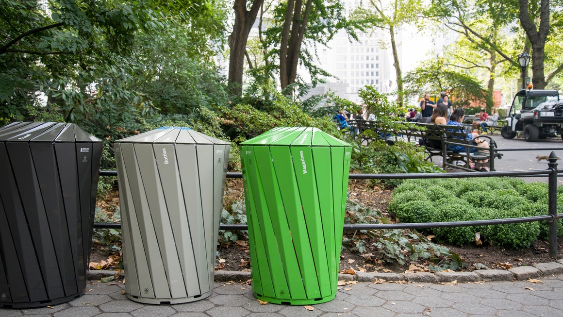 Central Park Conservancy trash cans