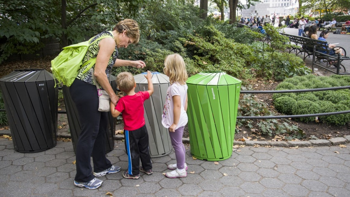 Central Park Conservancy Trash And Recycling Receptacles in Use