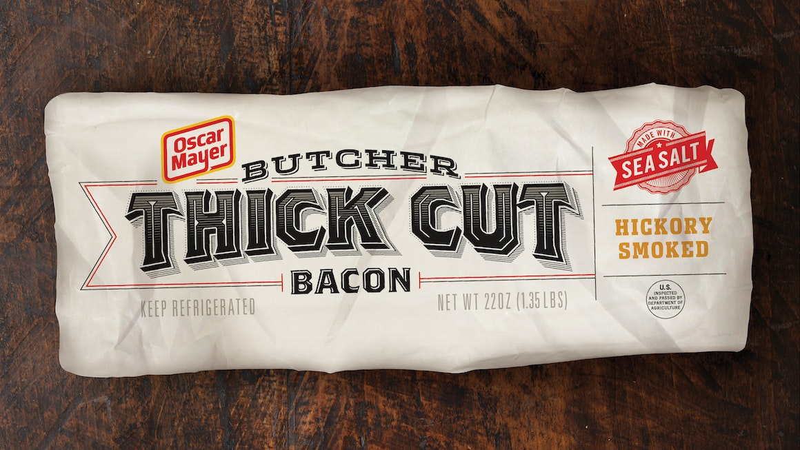 Oscar Mayer Butcher Thick Cut Bacon Packaging