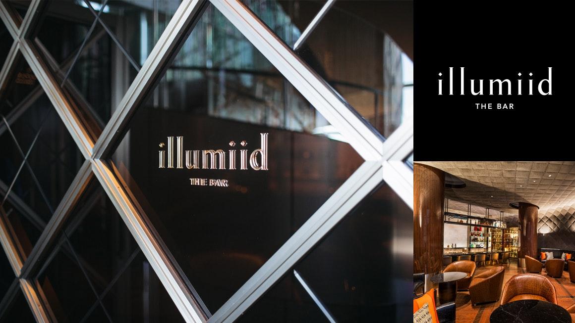 The Bar illumiid イルミード プライベート性を高めた隠れ家的なシガーバー。Illuminate(光をあてる)+Identity(自己)から命名。ロゴは本物を知る大人が集まる場として、上質なイメージを表現。
