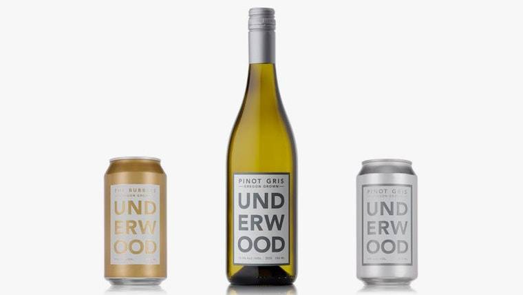 Underwood Wines Product Suite, bottle to can comparison: Wine brands byline