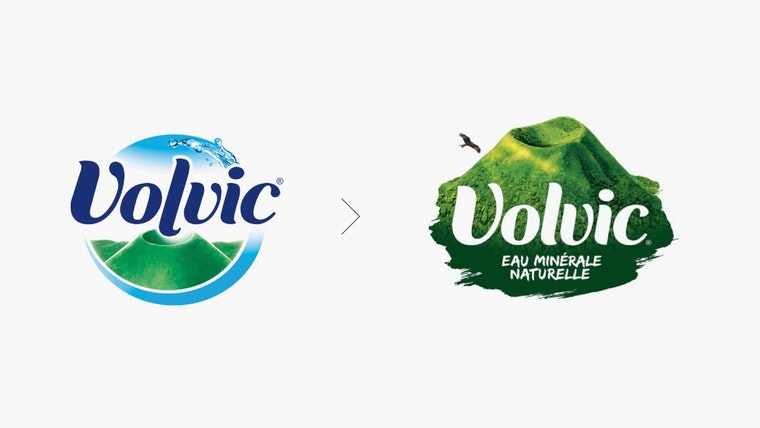 Volvic Logo Before and After